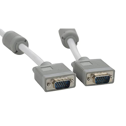 Ultima Cords & Cables, TMVGA Male to Male Video Monitor Cable Compatible for Projectors, HDTVs, Displays (White and Grey)