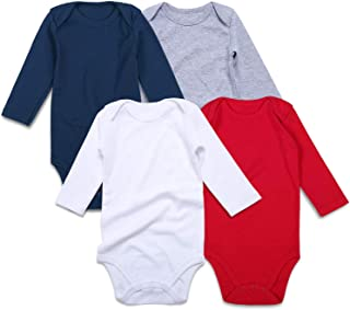 SOBOWO Unisex-Baby Solid Cotton Bodysuits, Multi Blank Infant Romper Shirt for Boys Girls 4 Pack