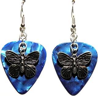 Butterfly Charm on Guitar Pick Earrings