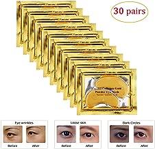 Joynest 30 Pairs Crystal Eye Mask Under Eye Mask 24K Gold Gel Collagen Eye Pad for Moisturizing & Reducing Dark Circles Puffiness Wrinkles Under Eye Patch for Women (Gold)
