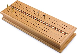 Sterling Games Deluxe Solid Wooden Cribbage Board Game Set Italian Inlaid and Storage for Cards