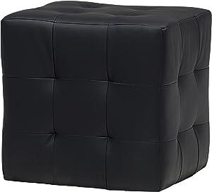 13Casa - Joy A1 - Pouff quadrato. Dim: 45x45x45 h cm. Col: Nero. Mat: Legno massello, Ecopelle.