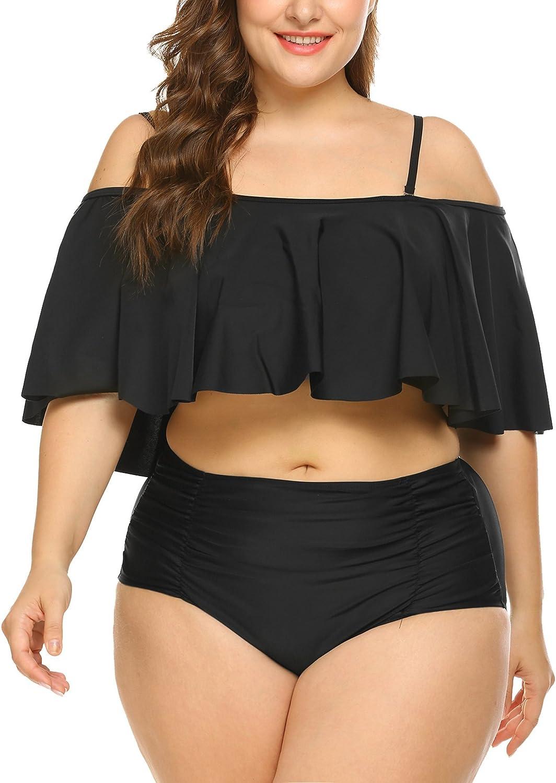 IN'VOLAND Women Plus Size Two Piece High Waisted Bikini Ruffled Flounce Top Bathing Suits Swimwear