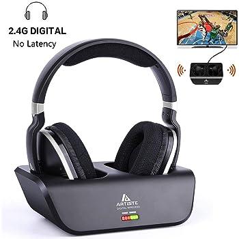 Casque TV sans Fil, Casque stereo over-ear avec transmetteur RF 2,4GHz, plateforme de chargement, portée sans fil de 30m et batterie de 20 heures, excellent son pour tv/pc/mobile/jeux