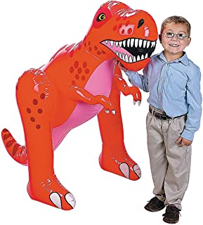 Fun Express - 4 Ft Vinyl Inflate Dinosaur for Birthday - Toys - Inflates - Inflatable Characters - Birthday - 1 Piece