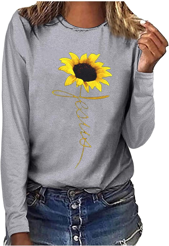 Sunflower T-Shirt for Women Lightweight Top Sleeve Long Crewneck Max 83% OFF Miami Mall