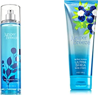 Bath Body Works Juniper Breeze Bundle includes 1-Tube Juniper Breeze Ultra Shea Body Cream, 8 oz + 1-Bottle Juniper Breeze Fine Fragrance Mist, 8 oz
