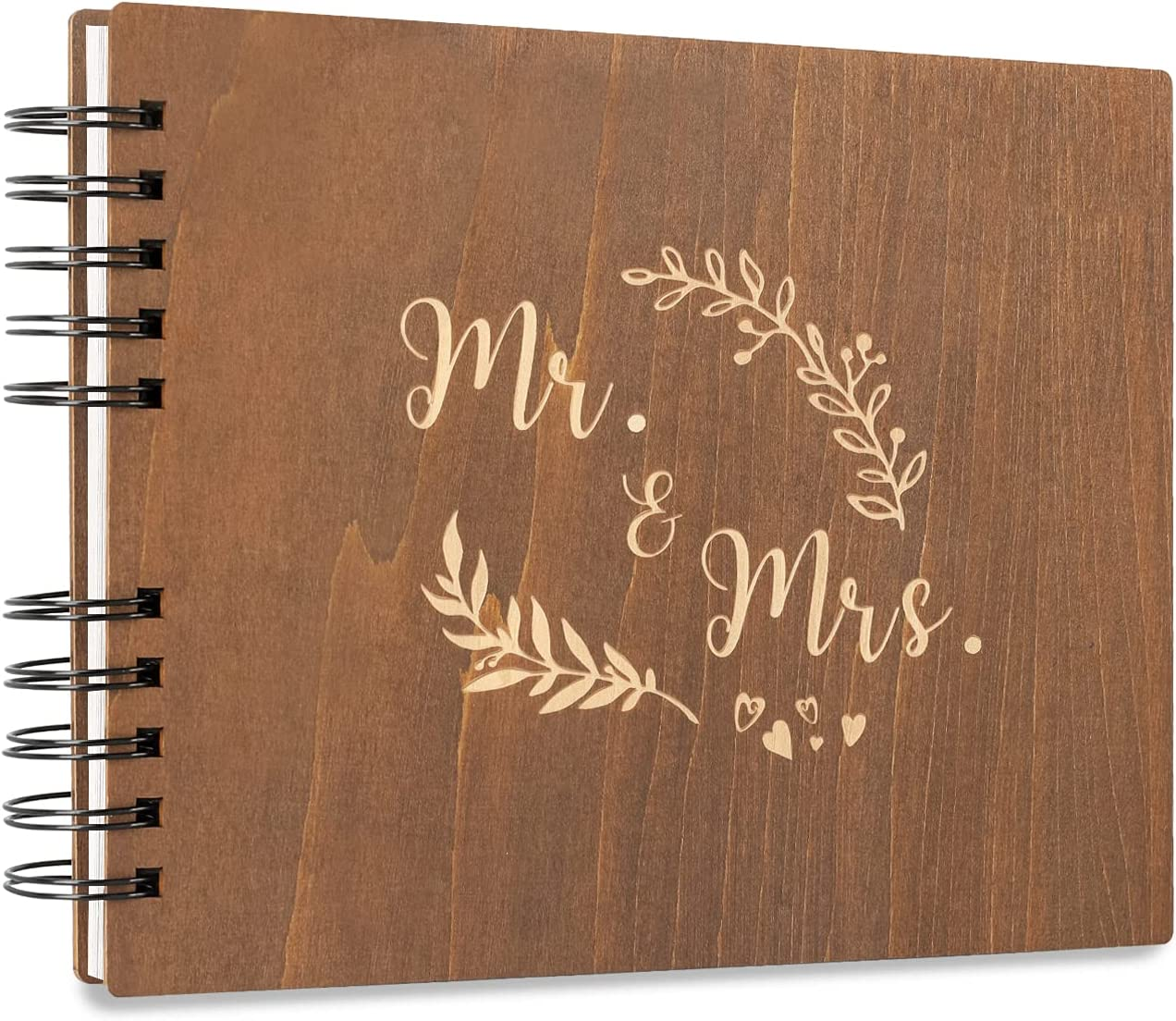 Creawoo Very popular! 11'' MrMrs Detroit Mall Wooden Guest Memory Kee Album Book