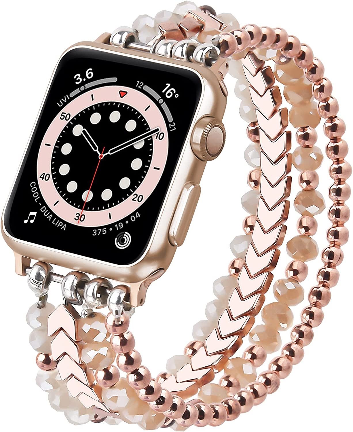 MOFREE Beaded Bracelet Compatible for Apple Watch Band 40mm/38mm Series SE/6/5/4/3/2/1 Women Fashion Handmade Elastic Stretch Strap for iWatch Bands Replacement (Rose Gold)
