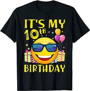 Cute Kids Emoji 10th Birthday Gift Cool 10 Years Old T-Shirt