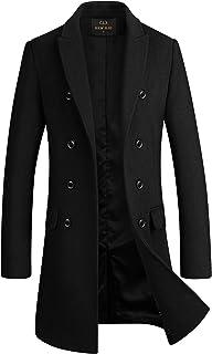 Men's Premium Wool Blend Double Breasted Long Pea Coat