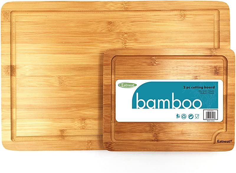 EatNeat Set Of 2 Thick Bamboo Cutting Boards With Juice Grooves Best Kitchen Chopping Board For Meat Butcher Block And Cheese Heavy Duty Serving Trays With Carrying Handles 18x12 10x8