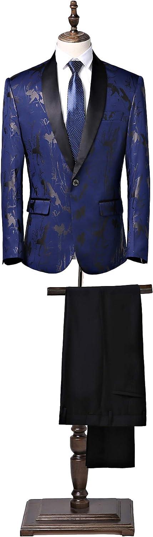 Men's Floral Suit Royal Blue 2 Pieces Shawl Lapel Slim Fit Suit Wedding Party Tuxedo Suit