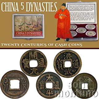 CHINA 5 DYNASTIES - Twenty Centuries of Cash Coins - Set of 5 Ancient Bronze Chinese Coins in Clear Box with Certificate of Authenticity