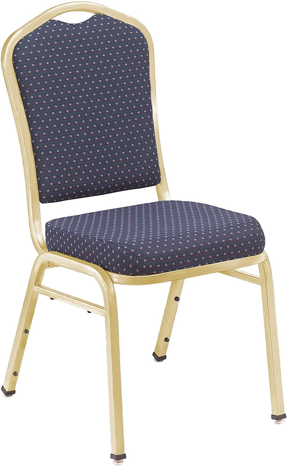 NPS 9364-G Fabric-Upholstered Crown Back Silhouette Stack Chair with Steel gold Frame, 300-Pound Capacity, 17-Inch Length x 23-Inch Width x 36-Inch Height, Diamond Navy