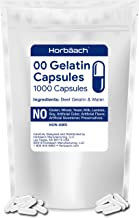 Clear Size 00 Empty Capsules   1000 Gelatin Capsules   Resealable Bag   Non-GMO, Gluten Free   by Horbaach