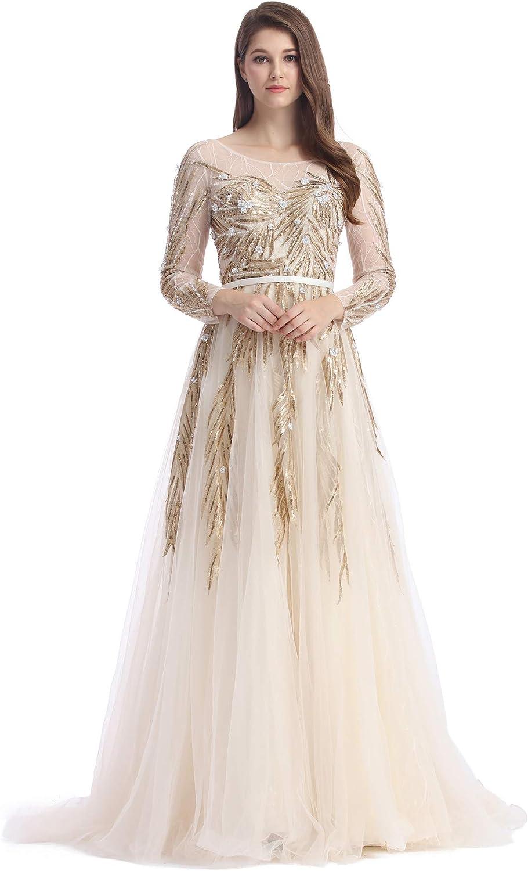 JUMILA Women's Aline Wicker Dress SeeThrough Long Sleeves Gowns Graduation Evening Dresses