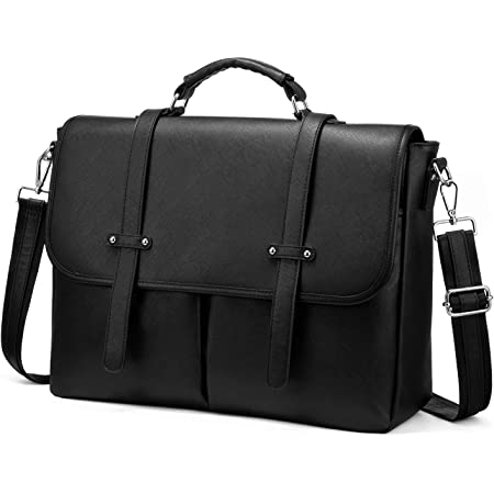 Laptop Bag for Women, 15.6 inch Briefcase for Women, Multi-Pocket Laptop Tote Work Bags with Professional Padded Compartments, Black