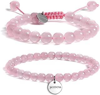 JADENOVA Gemstone Bracelet Chakra Bead Bracelet Energy Healing Crystal Yoga Beaded Natural Stone Bead Bracelet for Men Women Stretch Bracelet (2pcs, 6mm, 8mm, 10mm)