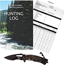 Hunting Accessories Tactical Knife Bundle -1 Hunting Survival Knife 4.75 inches Closed | 1 Hunting Journal 9 x 6 inch