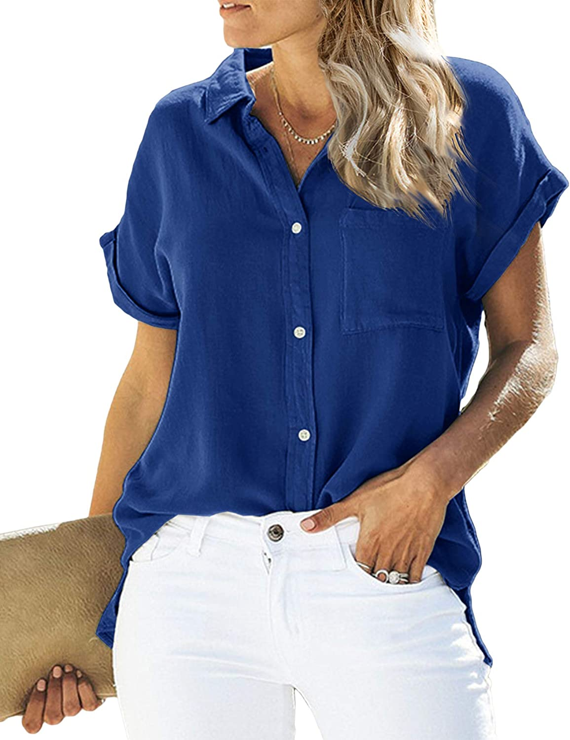 Womens V Neck Shirts Loose Blouse Short Sleeve Button Down Casual Work Tops with Pockets