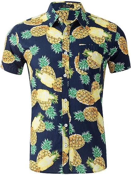 LIUXING-TUMI Camisa Hawaiana de Manga Corta para Hombre ...