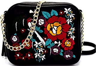 Floral Embroidery Mini Box Cross Body- Black