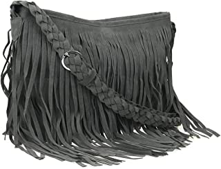 Hippie Suede Fringe Tassel Messenger Bag Women Hobo Shoulder Bags Crossbody Handbag