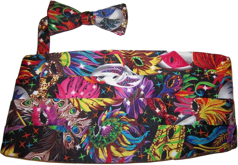 Vittorio Farina Mardi Gras Mask Cummerbund and Bow Tie Set