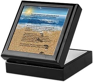 CafePress Footprints in The Sand Keepsake Box, Finished Hardwood Jewelry Box, Velvet Lined Memento Box