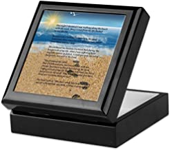 CafePress Footprints in The Sand Keepsake Box, Finished Hardwood Jewelry Box, Velvet Lined Memento Box