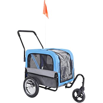 Aosom Elite-Jr 2-in-1 Dog Pet Bicycle Trailer/Jogging Stroller with 360-Degree Swivel Wheels & Large Easy Entry