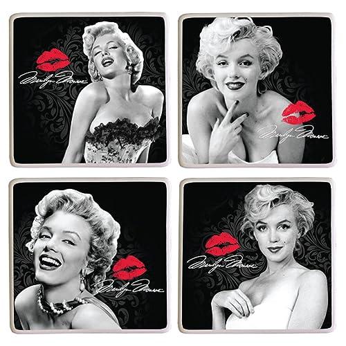 Vandor 70285 Marilyn Monroe 4 Piece Ceramic Coaster Set, Black/White