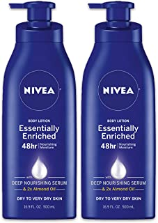 NIVEA Essentially Enriched Body Lotion - 48 Hour Moisture For Dry to Very Dry Skin - 16.9 fl. oz. Pump Bottle (Pack of 2)