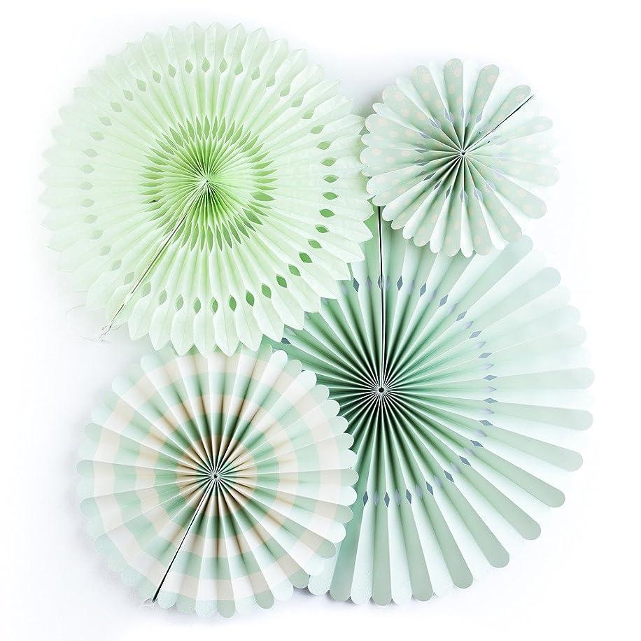 My Mind's Eye Basics Party Fans, Mint Color, Set of 4