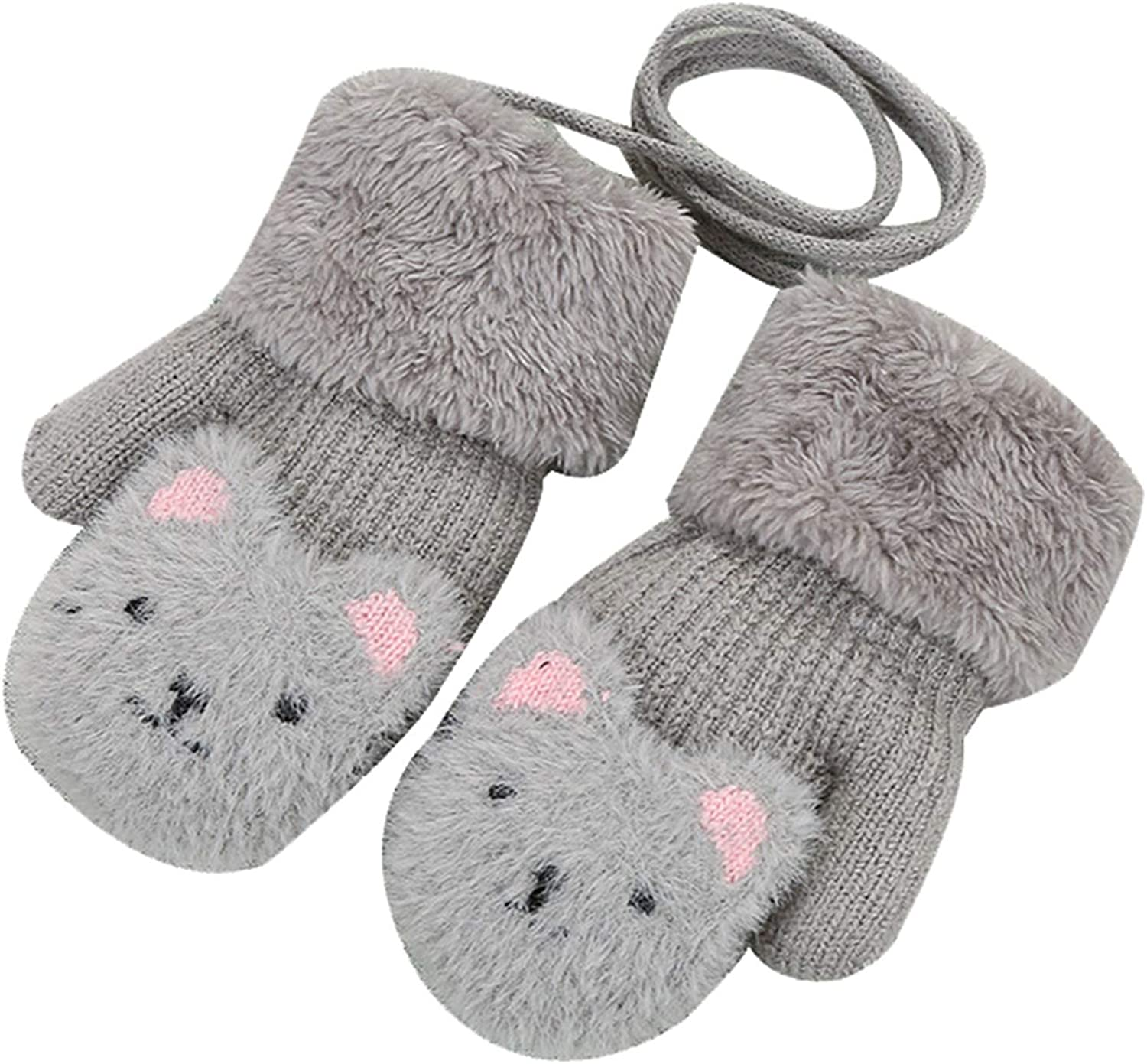 2-7 Years Kids Mittens, Bear 2-layer Knitted Thermal Girls Winter Gloves for Holiday Season