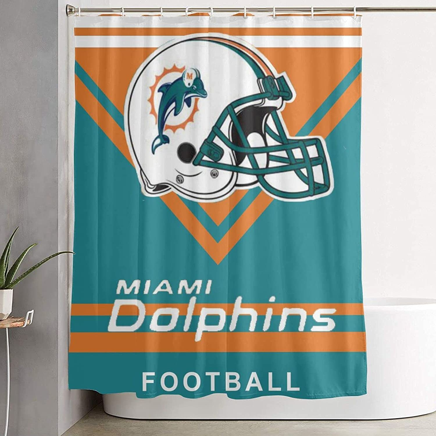 Shower Curtain OFFicial store Miami Dolphins F Stall Max 71% OFF Waterproof Bathroom