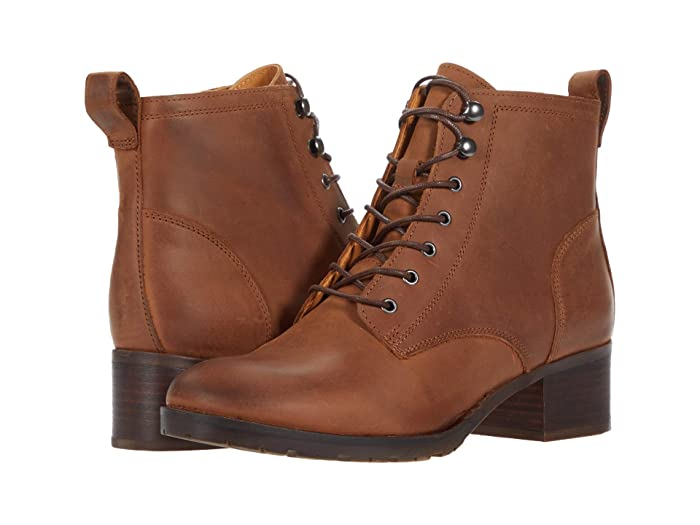 Vintage Boots- Buy Winter Retro Boots Clarks Mila Lace Dark Tan Leather Womens Shoes $139.95 AT vintagedancer.com