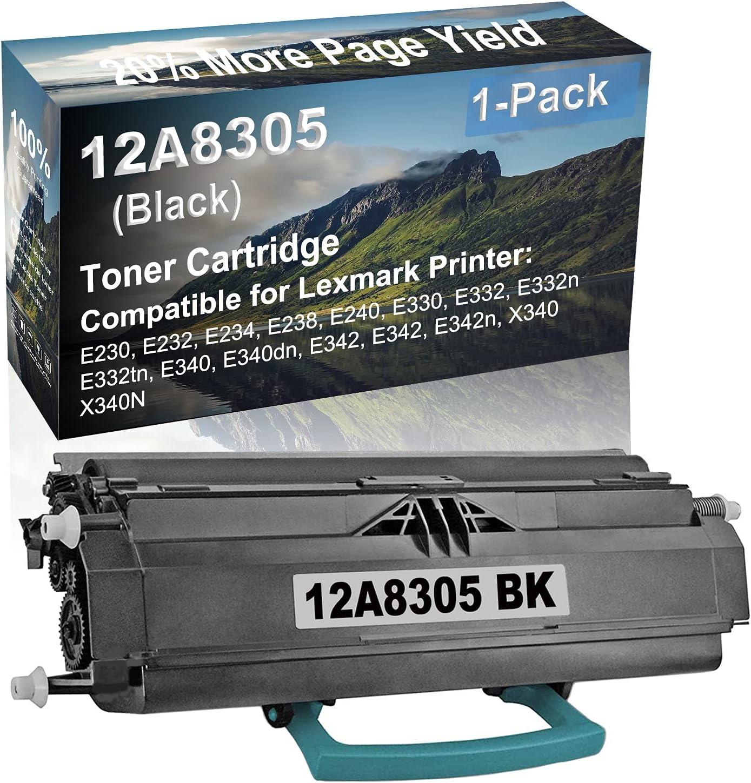 1-Pack Compatible High Yield E342, E342, E342n, X340, X340N Laser Printer Toner Cartridge Replacement for Lexmark 12A8305 Printer Cartridge (Black)