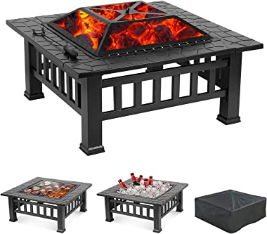 GARTIO Outdoor Fire Pit, 32'' Square Metal Firepit Table,Wood Burning Stove BBQ Table, Ice Pit, Heater, Waterproof Cover, Suitable for Backyard Garden Camping Party