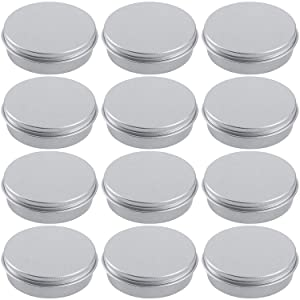 Hulless 4 Ounce Aluminum Tin Jar 120 ml Refillable Containers Cosmetic Small Tin Aluminum Screw Lid Round Tin Container Bottle for Cosmetic ,Lip Balm, Cream, 12 Pack.
