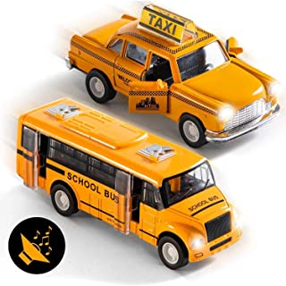 Top Race Metal Diecast School Bus and Taxi Pull Back Battery Powered with Lights and Sound 1:32 Scale Set of 2