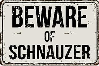 "Deerts 493VS Beware of Schnauzer 8"" x 12"" Vintage Aluminum Retro Metal Sign"