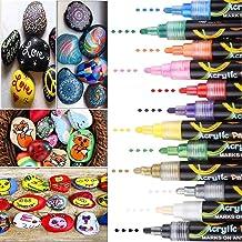 DIAOPROTECT Rotuladores De Pintura Acrílica, 12 Rotuladores Acrilicos para Cerámica, Porcelana, Vidrio, Guijarros, Tela, Lienzo, Madera y Diseño De Tazas Personalizadas