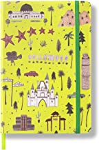 """Minimalism Art, Premium Hard Cover Notebook Journal, Medium, A5 5.8"""" x 8.3"""", Dotted Grid Page, Graphic Yellow, 234NumberedPages, GussetedPocket, Ribbon Bookmark, Ink-ProofPaper120gsm, Los Angeles"""