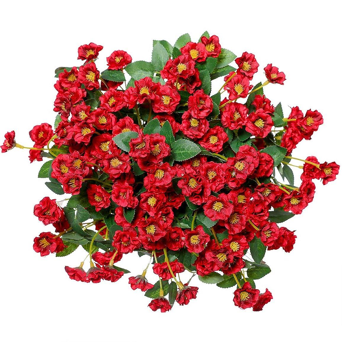 いい生活 3本 小さなバラ 造花 花束 飾花 枯れない花 インテリア 結婚式 家 事務所 喫茶店 会合 装飾 人工植物 レッド