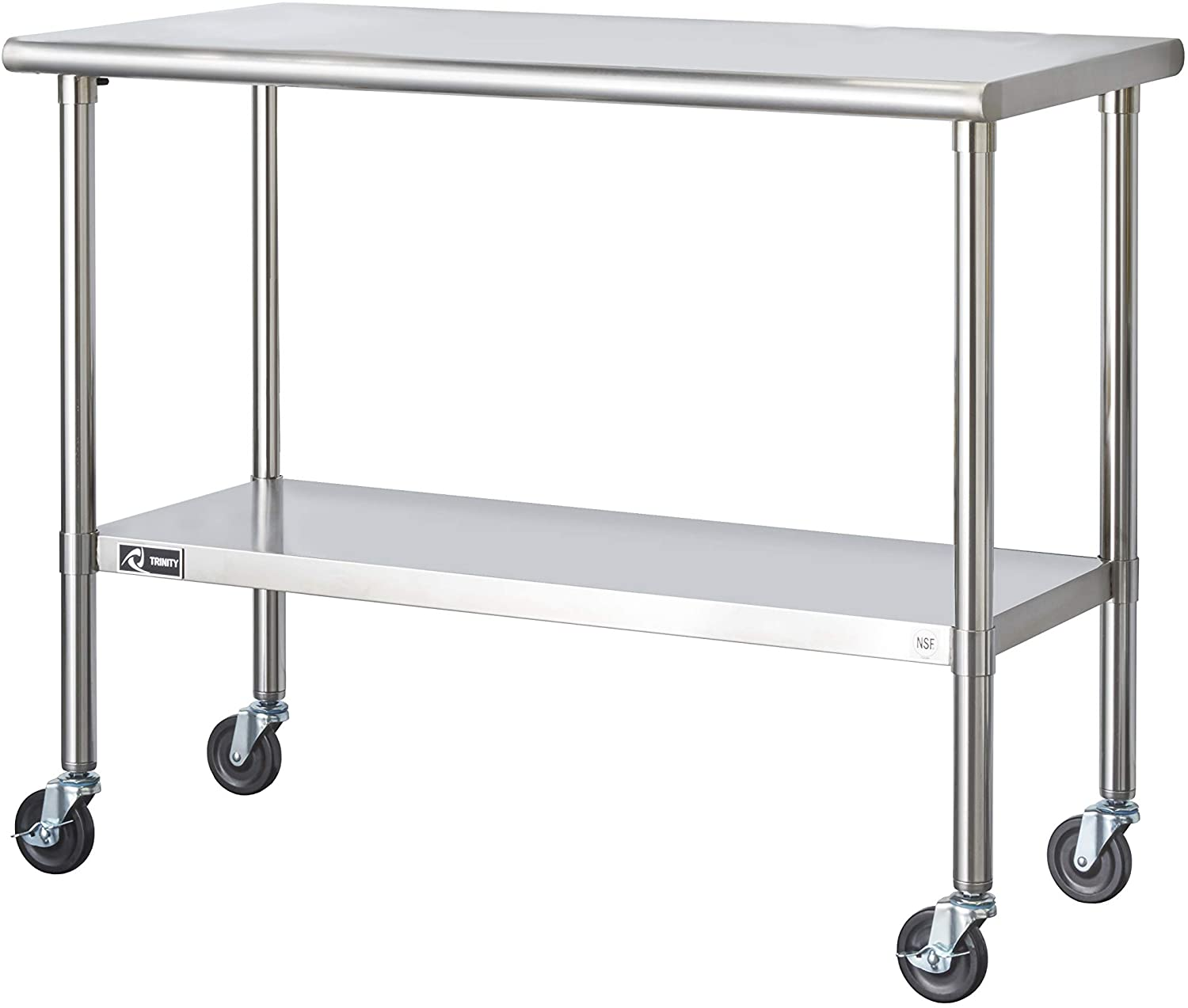 TRINITY EcoStorage NSF Stainless Steel Max 61% Sacramento Mall OFF Wheels 48-Inc with Table