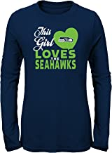 Outerstuff NFL NFL Seattle Seahawks Youth Girls This Girl Loves Long Sleeve Fashion Fit Tee Navy, Youth Large(14)