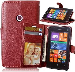 FUBAODA Lumia 520,Funda Funda de Cuero de Microsoft para Nokia Lumia 520,[Cable Libre] Cierre Magnético con Ranuras para Tarjeta de Crédito para Microsoft para Nokia Lumia 520(525)(marrón)