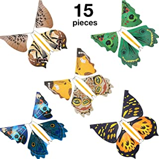 15 Pieces Magic Fairy Flying Butterfly Rubber Band Powered Wind up Butterfly Toy Flying Butterfly Decorations for Surprise Gift or Party Playing